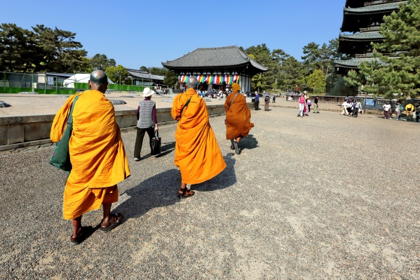 Nara Bonzes en robes safran Ipad